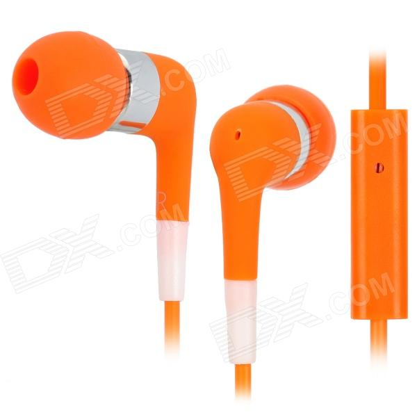 Stylish In-Ear Earphone w/ Microphone for Iphone 3g / 3GS / 4 / 4S / Ipod / Ipad - Orange awei q7i stylish in ear earphone with microphone for iphone ipad more orange green