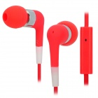 Stylish In-Ear Earphone w/ Microphone for Iphone / Ipod / Ipad - Red + Silver (3.5mm Plug / 115cm)
