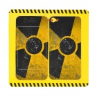 Nuclear Logo Pattern Protective Back + Front Sticker for iPhone 4 / 4S - Yellow + Black
