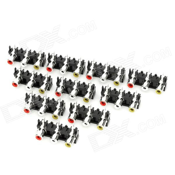 AV 3-Female Jack RCA Socket Connectors (10 PCS)