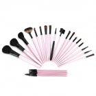 Professional Wool Cosmetic Makeup Brushes - Pink (23 PCS)