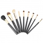 Professional Cosmetic Makeup Brushes Set w/ Cylinder Case - Black (9 PCS)