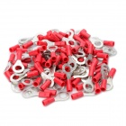 Insulated Ring Copper Terminal Connectors - Red + Silver (6.4mm / 100 PCS)