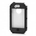 Stylish Protective Plastic Back Case w/ Silicone Cover + Stand for Iphone 4 / 4S - Black + White