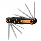 8-in-1 Portable Folding Screwdriver Repair Tool Kits - Black + Yellow