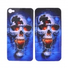 Scary Skull Style Protective Front + Back Skin Sticker for Iphone 4 / 4S - Blue