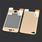 Q2 Glossy LCD Screen Front / Back Protector w/ Sticker + Cleaning cloth for Iphone 4 / 4S - Golden