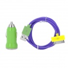 Color Car Cigarette Powered Adapter + USB Charging Cable Set for iPhone 4 / 4S - Green + Purple