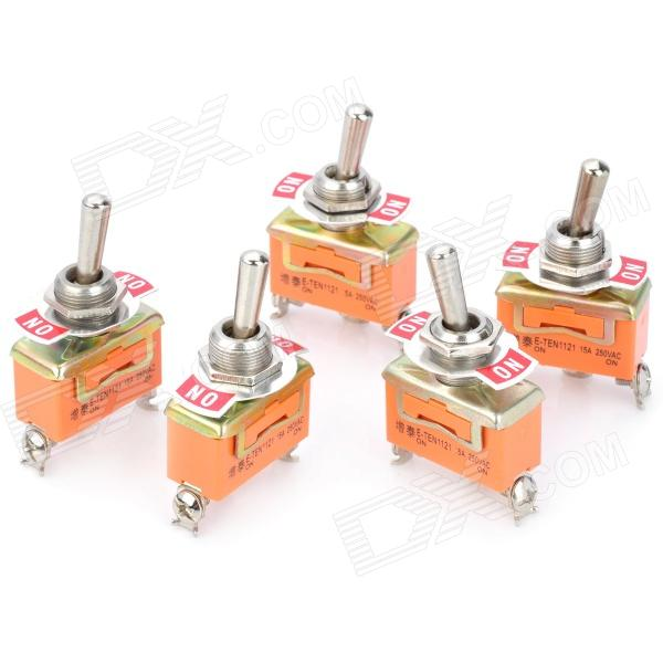 Electrical Power Control 3-Pin Toggle Button Switch - Orange + Silver (5PCS)