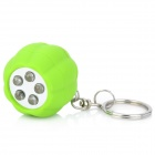 Cut Pumpkin Style 5-LED White Light Keychain - Green (2 x CR2016)