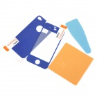 Q2 Glossy LCD Screen Front / Back Protector w/ Sticker + Cleaning cloth for Iphone 4 / 4S - Blue