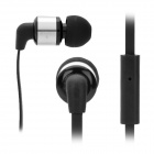 AWEI ES6001 3.5mm Jack In-Ear Headphone w/ Caps + Clip + Zipper Bag for Iphone / Ipad - Black