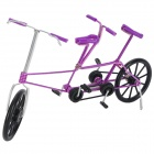 Creative Craft Aluminum Wired Double Seat Bicycle Model - Purple + Black