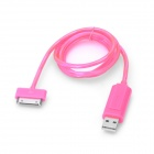 USB Data / Charging Cable with Visible EL Light for iPhone / iPad / iPod - Pink