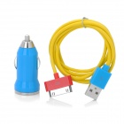Car Cigarette Lighter Plug Charger for iPhone 4 / 4S - Blue + Yellow + Red