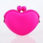 Fashion Heart Shaped Silicone + Alloy Wallet - Deep Pink