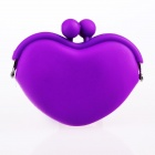P003 Cute KISS Heart Shape Women's Silicon Purse Wallet - Purple (S-Size)