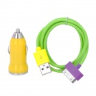 Car Cigarette Lighter Plug Charger for iPhone 4 / 4S - Yellow + Green + Purple