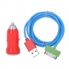 Car Cigarette Lighter Plug Charger for iPhone 4 / 4S - Red + Blue + Green