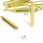 Brass Threaded Stand-Off Hex Screw Pillars w/ Nuts (M3 x 30mm + 6 / 30-PCS)