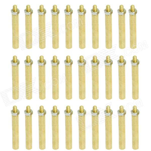 Brass Threaded Stand-Off Hex Screw Pillars w/ Nuts (M3 x 40mm + 6 / 30 PCS) 180pcs set m3 male female hex head brass spacing screws threaded pillar pcb computer pc motherboard standoff spacer kit hw040