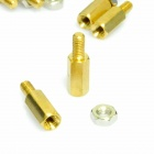 M3x10mm+6 Copper DIY Male Female Threaded PCB Spacer Stand-off - Golden (50 PCS)