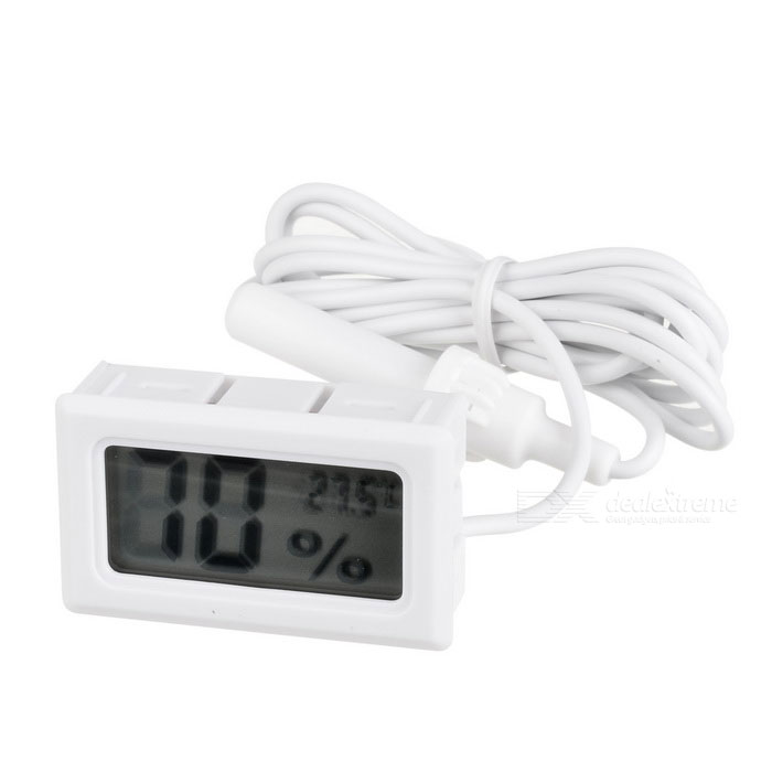"Embedded 1.5"" LCD Digital Hygrometer Thermometer for Cigar Humidor - White (2 x AG13)"