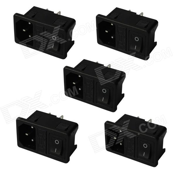3-Pin DIY AC Power Socket with Fuse and Switch - Black (5 PCS) шприц sfm инсулиновый 1мл 40ме 100