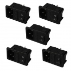 3-Pin DIY AC Power Socket with Fuse and Switch - Black (5 PCS)