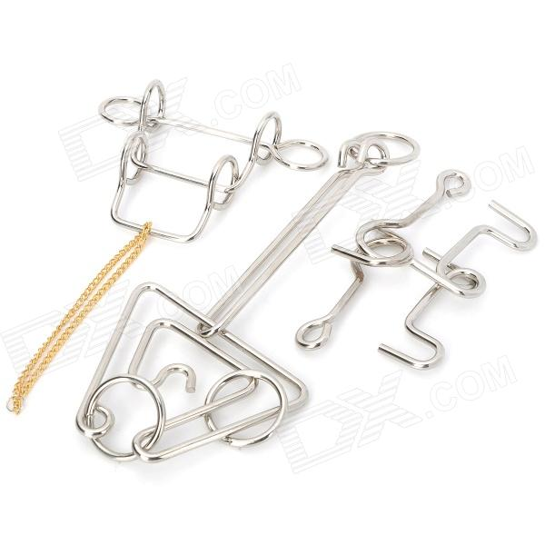 Intelligence Training Puzzle Rings Buckles Set - Silver