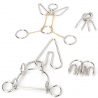 6 Intelligence Training Puzzle Rings Buckles Set - Silver