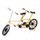 Creative Craft Aluminum Wired Double Seat Bicycle Model - Golden + Black