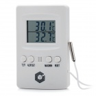 "1.7"" LCD Digital Indoor / Outdoor Thermometer - White (2 x AAA)"