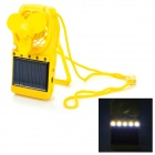 Multifunction Rechargeable Battery Solar 5-LED Light Lamp Cooler Fan - Yellow