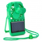 Multifunction Rechargeable Battery Solar 5-LED Light Lamp Cooler Fan - Green