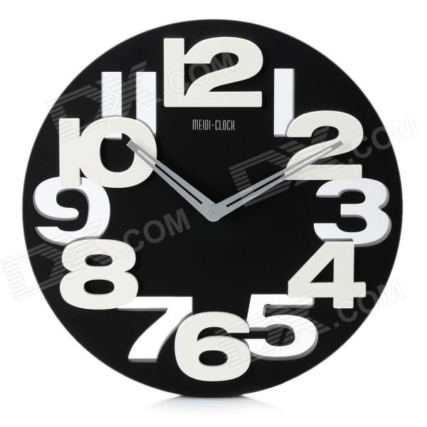 Creative Art Decorative Wall Clock with Silent Movement - Black + White (1 x AA) creative coffee time wall mounted clock blue 1 x aa