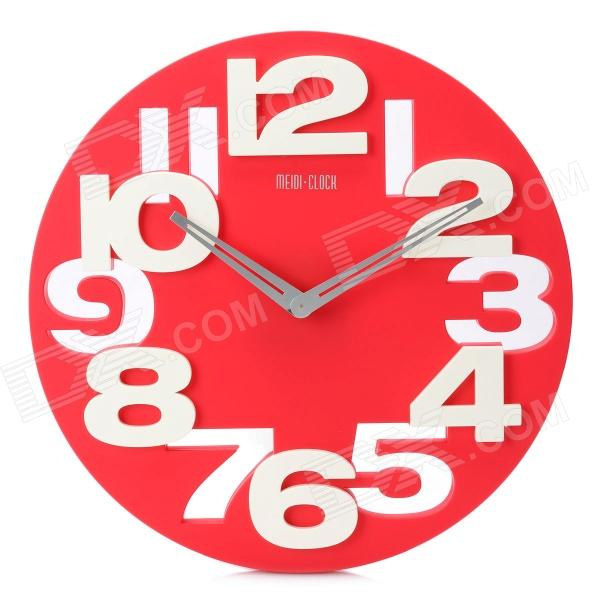 Creative Art Decorative Wall Clock with Silent Movement - Red + White (1 x AA) creative coffee time wall mounted clock blue 1 x aa