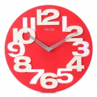 Creative Art Decorative Wall Clock with Silent Movement - Red + White (1 x AA)