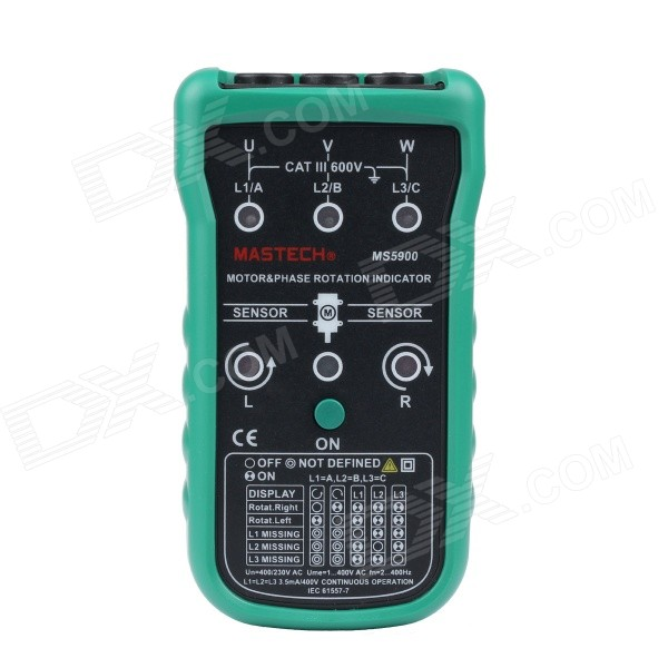 MASTECH MS5900 Motor Phase Rotation Indicator Meter - Green + GreyTesters &amp; Detectors<br>Model:Quantity:Form  ColorGreyMaterial:Powered ByOthersBattery included or notNoPacking List<br>