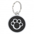 Paw Footprint-Muster Metall Pet ID Tag für Hunde - Silber + Schwarz