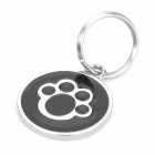 Paw Footprint Pattern Metal Pet ID Tag for Dogs - Silver + Black