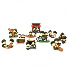 Cute Chinese Soldier Cartoon Style Couple Dolls - Army Green (10 PCS)