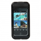 Waterproof Protective Plastic Case w/ Shock Stopper / Strap for Iphone 4 / 4S - Black