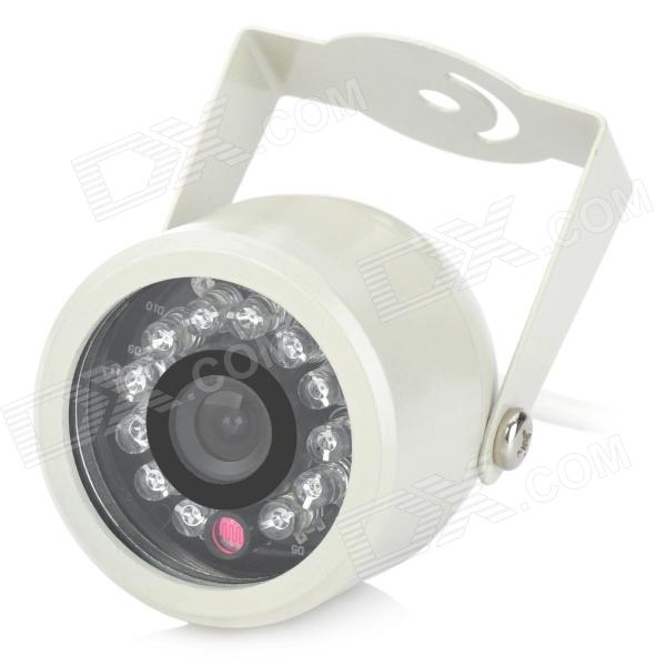 Safety Surveillance Security Camera w/ 12-LED IR Night Vision - Beige (PAL) cmos color surveillance security camera with 6 ir led night vision pal 6v 9v dc