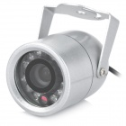 Water Resistant Surveillance Security Camera w/ 12-LED IR Night Vision - Silver (PAL)
