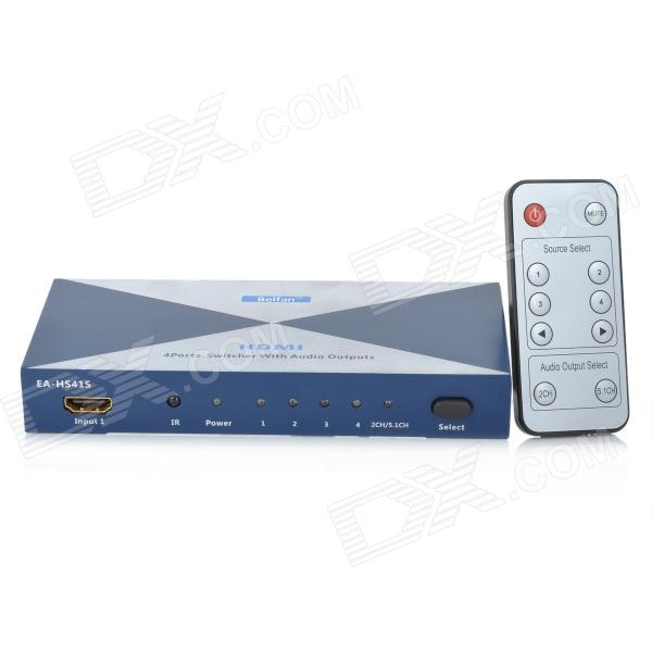 5-Port HDMI 1.3 Audio Video Switcher (4-In / 1-Out) - Blue + Silver