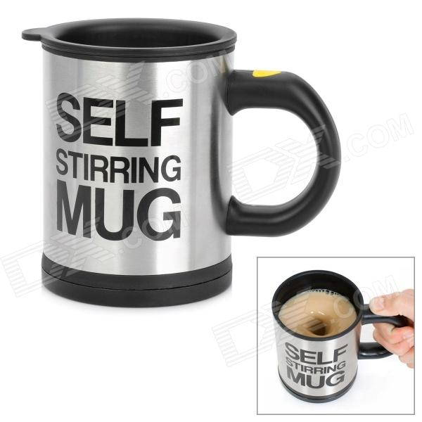 YSDX-398 Fashion Stainless Steel Self Stirring Mug - Black + Silver (2 x AAA)