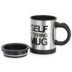Fashion Stainless Steel Self Stirring Mug - Black + Silver (2 x AAA)