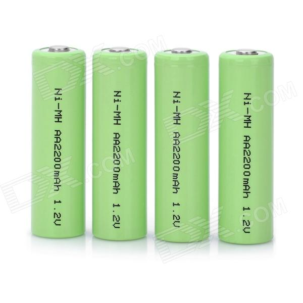 Rechargeable 1.2V 2000mAh AA NiMH Battery - Green (4 PCS) аккумулятор aa beston 1300 mah nimh 2 штуки