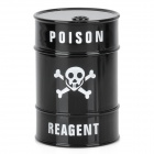 Skull Pattern Oil Drum Shaped Double Layers Herb Tobacco Cigarette Grinder - Black